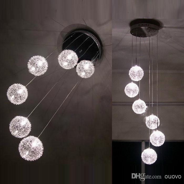 Amazing Fashionable Wire Ball Pendant Lights With 6 Glass Aluminum Wire Balls Stair Case Pendant Light Living Room (Image 2 of 25)