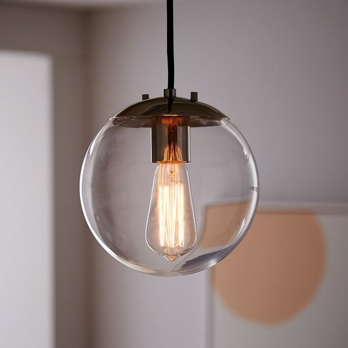 Amazing Favorite Short Pendant Lights With Globe Pendant Clear West Elm (Image 3 of 25)