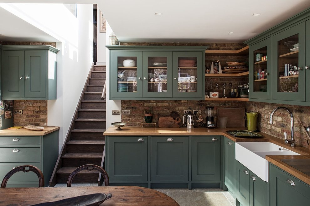 Amazing Latest Green Kitchen Pendant Lights Inside Tampa Sage Green Kitchen Traditional With Pendant Lights (Image 1 of 25)