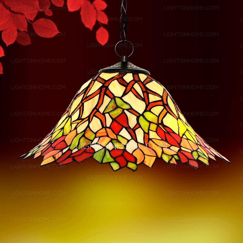 Amazing Latest Stained Glass Pendant Light Patterns With Leaf Pattern Stained Glass Pendant Lights For Kitchen (Image 1 of 25)