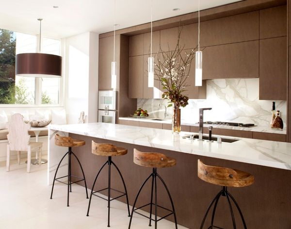 Amazing New Kitchen Island Light Pendants Within In White And Brown With Sleek Pendant Lights Above The Kitchen (View 8 of 25)
