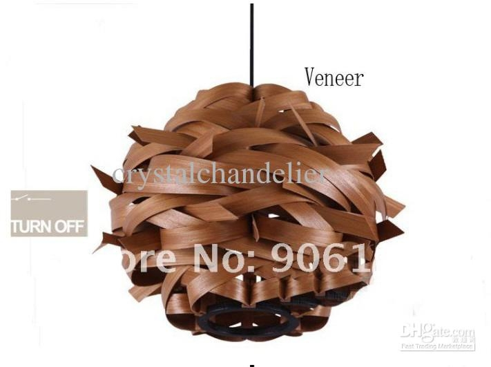Amazing Popular Wood Veneer Lighting Pendants Within New 1 Light Pendant Lighting Fixture Wood Veneer Finished Light (View 24 of 25)