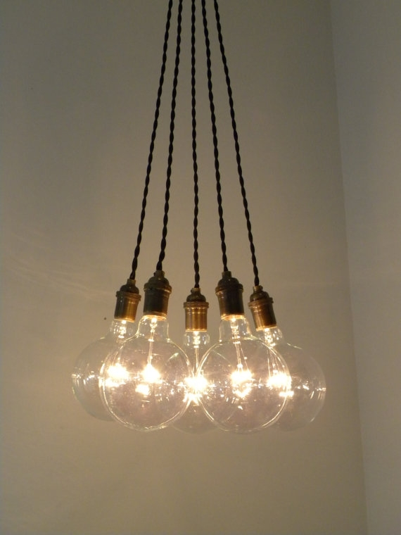 Amazing Preferred Bare Bulb Cluster Pendants In 5 Cluster Custom Any Colors Hanging Modern Hangoutlighting My (Image 2 of 25)