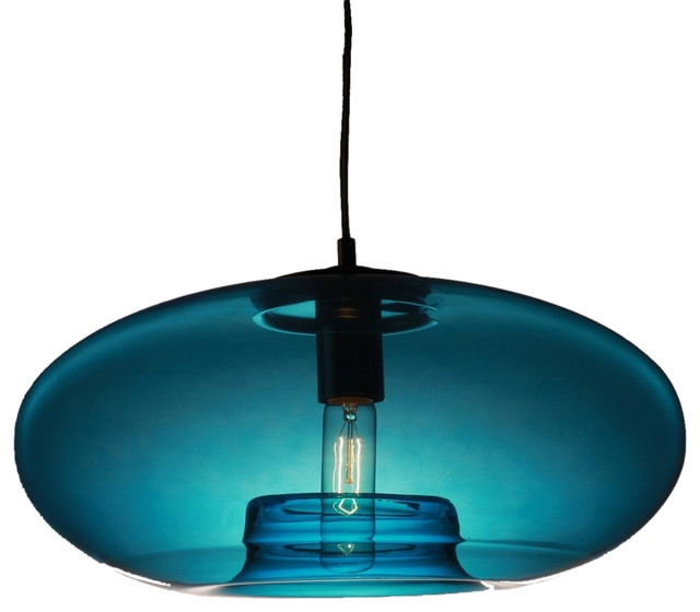 Amazing Preferred Blue Pendant Light Shades Intended For Elegant Teal Pendant Light Turquoise Feather Glass Pendant Light (Image 3 of 25)