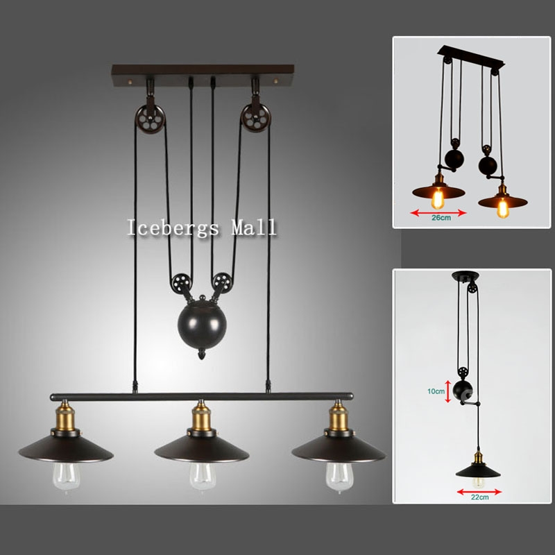 Amazing Preferred Pulley Pendant Lights Throughout Popular Pulley Pendant Light Buy Cheap Pulley Pendant Light Lots (Image 3 of 25)