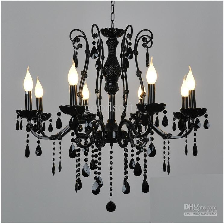 Amazing Premium Black Pendant Light With Crystals Within European Black Wrought Iron Crystal Light 68 Candle Lights (Image 3 of 25)