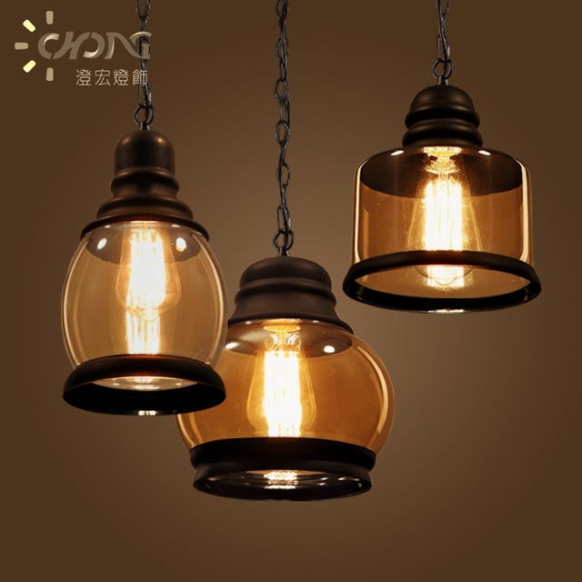 Amazing Premium Brown Glass Pendant Lights Intended For Retro Vintage Pendant Lights Brown Glass Lampshade And Black Iron (Image 5 of 25)
