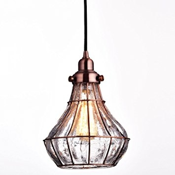 Amazing Premium Cracked Glass Pendant Lights Within Yobo Lighting Cracked Glass Vintage Wire Ceiling Pendant Light (View 19 of 25)