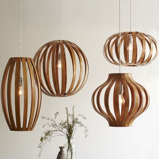 Amazing Trendy Bent Wood Pendant Lights Throughout Bentwood Pendants West Elm (Image 4 of 25)