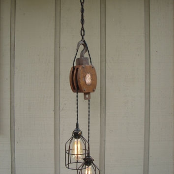Amazing Unique Double Pulley Pendant Lights Inside Best Pulley Lighting Products On Wanelo (Image 1 of 25)