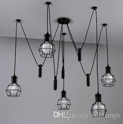 Amazing Well Known Adjustable Pulley Pendant Lights Intended For Novelty Spider Lamp Kitchen Adjustable Pulley Pendant Lamp Black (Image 1 of 25)