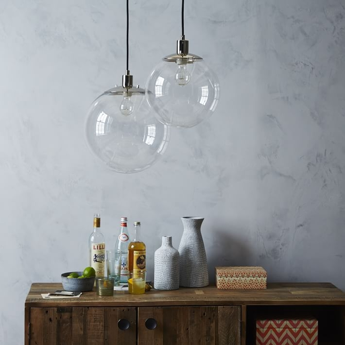 Amazing Wellknown Glass Orb Pendant Lights Throughout Globe Pendant Clear West Elm (Image 2 of 25)