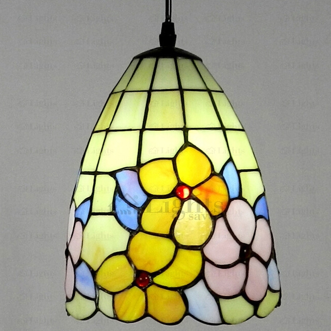 Amazing Well Known Stained Glass Mini Pendant Lights In Floral Stained Glass Tiffany Mini Pendant Light (Image 3 of 25)