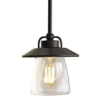 Amazing Widely Used Allen Roth Pendant Lights Inside Allen Roth Mission Bronze Edison Mini Pendant Light With Clear (Image 4 of 25)