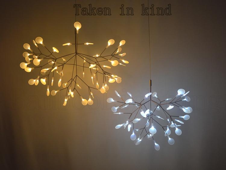 Amazing Widely Used Led Pendant Lights Throughout Small Heracleum Leaves Led Pendant Lamp Tree Branch Chandelier (Image 4 of 25)