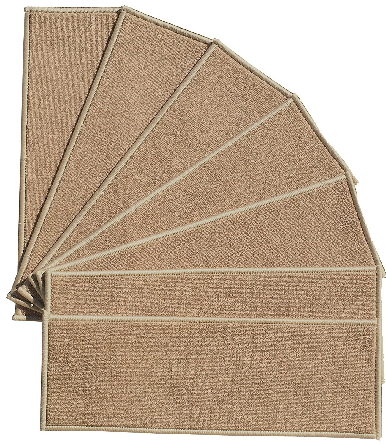 Amazon Berrnour Home Stair 7 Piece Treads Beige Skid Intended For Skid Resistant Stair Treads (View 12 of 15)