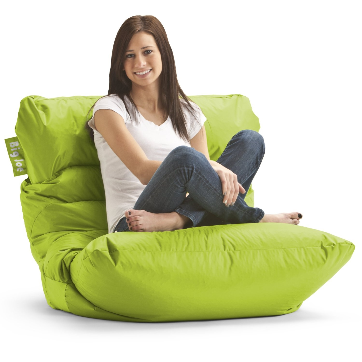 Amazon Big Joe Roma Bean Bag Chair Spicy Lime Beanbag Inside Bean Bag Sofas And Chairs (Image 2 of 15)
