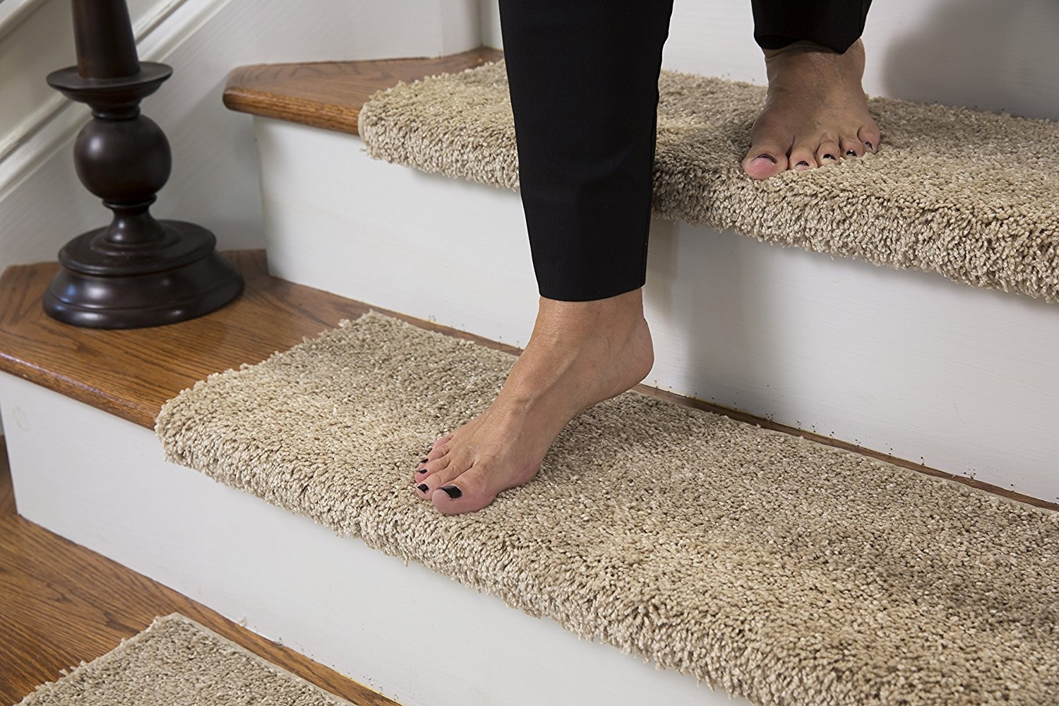Amazon Caprice Bullnose Carpet Stair Tread With Adhesive Within Bullnose Stair Tread Carpets (Image 2 of 15)