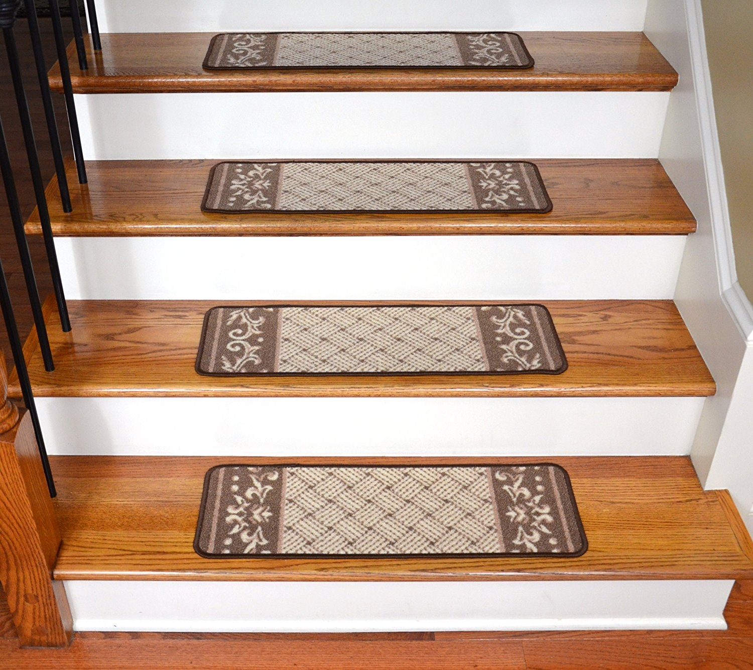 Amazon Carpet Stair Treads Caramel Scroll Border Pertaining To Bullnose Stair Tread Rugs (Image 2 of 15)