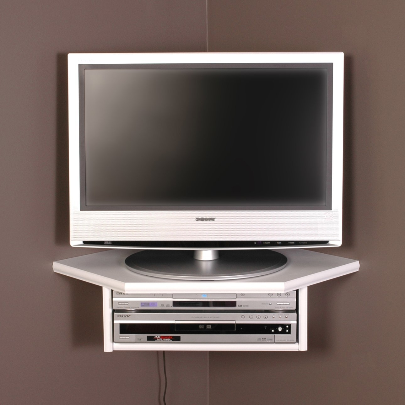 Amazon Creative Connectors Corner Floating Wall Shelf White Throughout Corner Shelf For Dvd Player (View 6 of 15)
