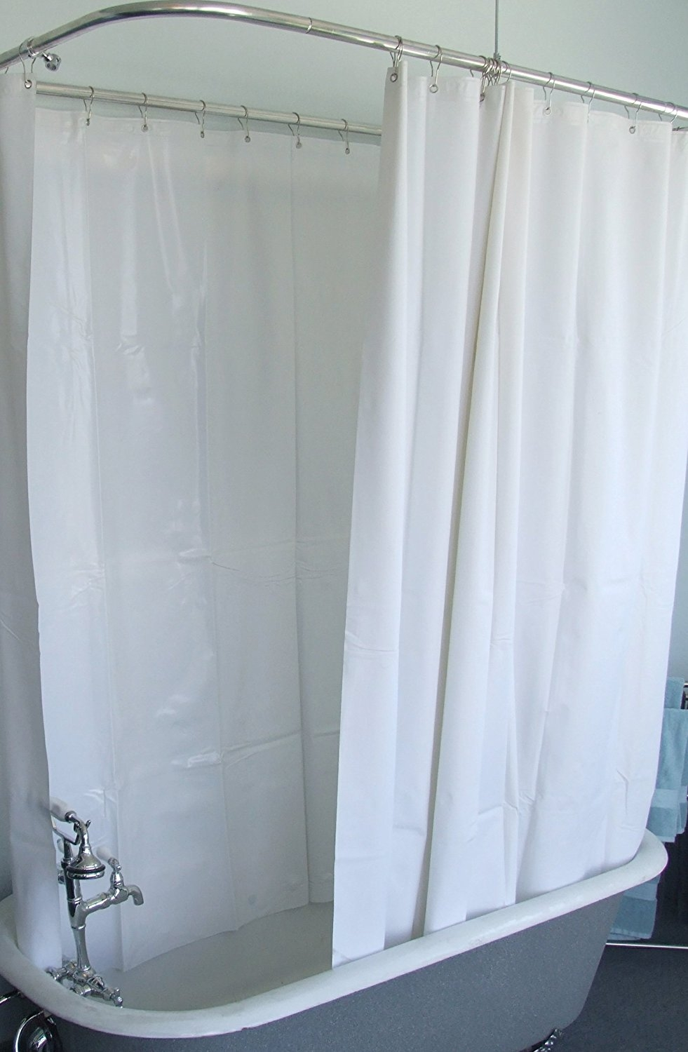 Amazon Extra Wide Vinyl Shower Curtain For A Clawfoot Tub In Claw Tub Shower Curtains (Image 1 of 25)
