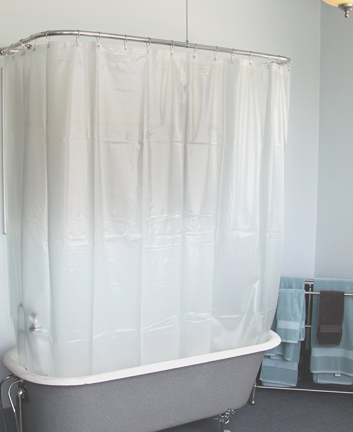Amazon Extra Wide Vinyl Shower Curtain For A Clawfoot Tub Regarding Claw Tub Shower Curtains (Image 2 of 25)