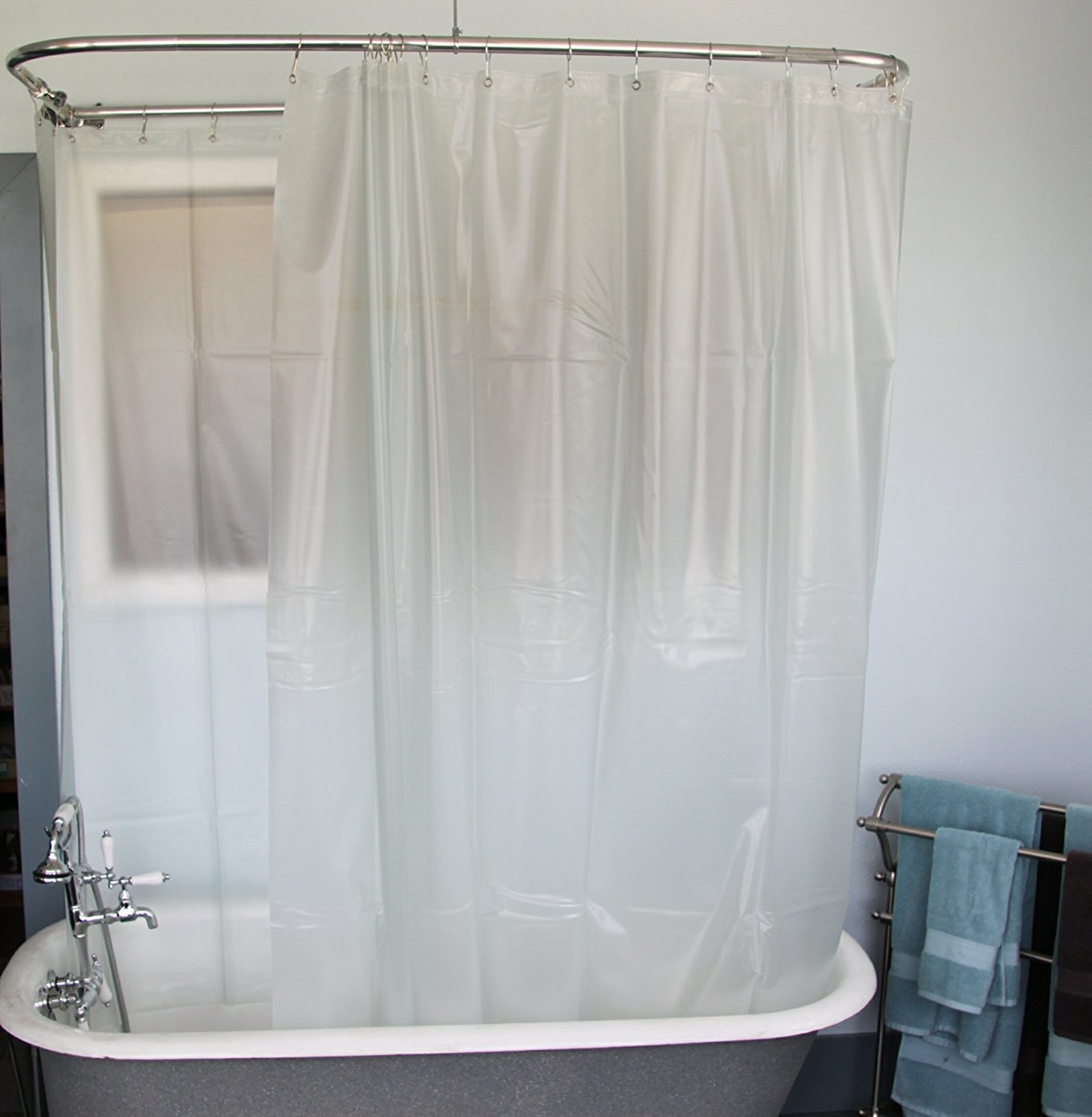 Amazon Extra Wide Vinyl Shower Curtain For A Clawfoot Tub Throughout Claw Tub Shower Curtains (Image 4 of 25)