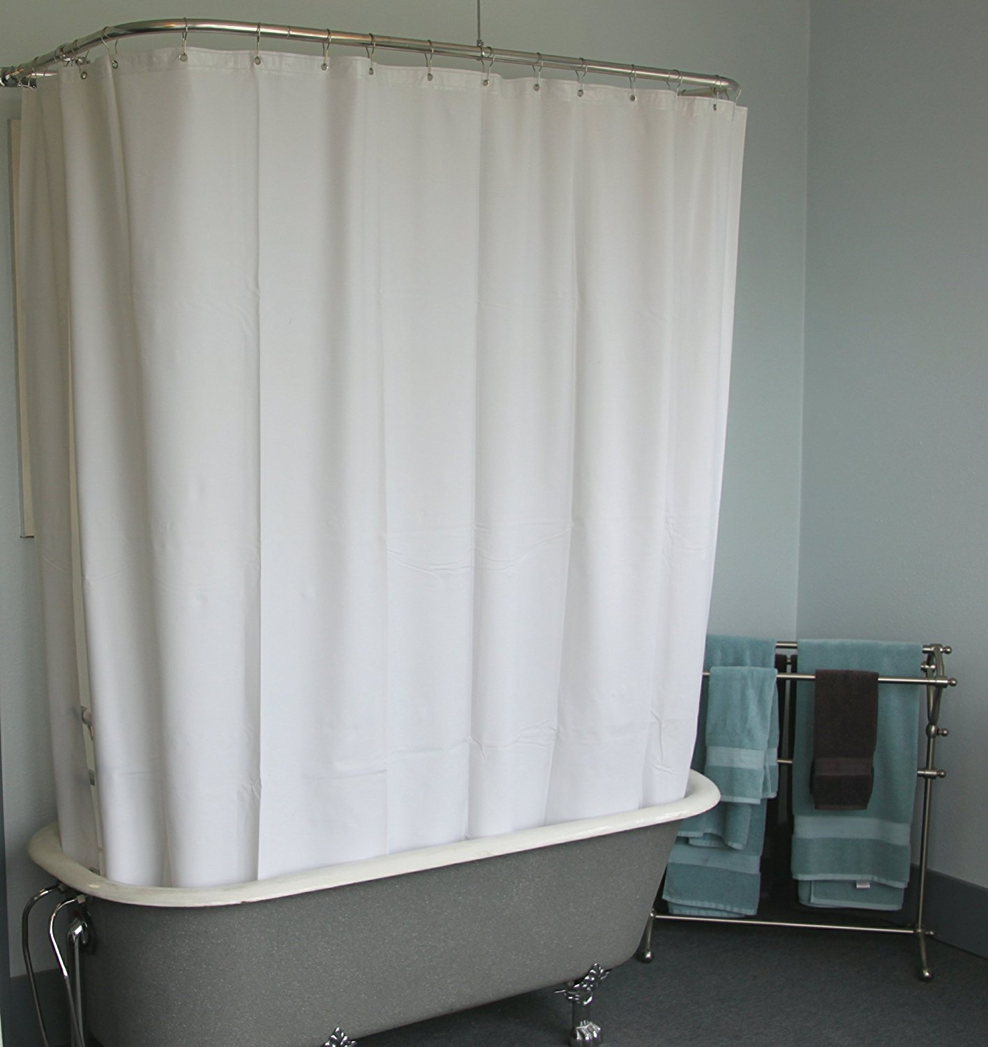 Amazon Extra Wide Vinyl Shower Curtain For A Clawfoot Tub Throughout Claw Tub Shower Curtains (Image 3 of 25)