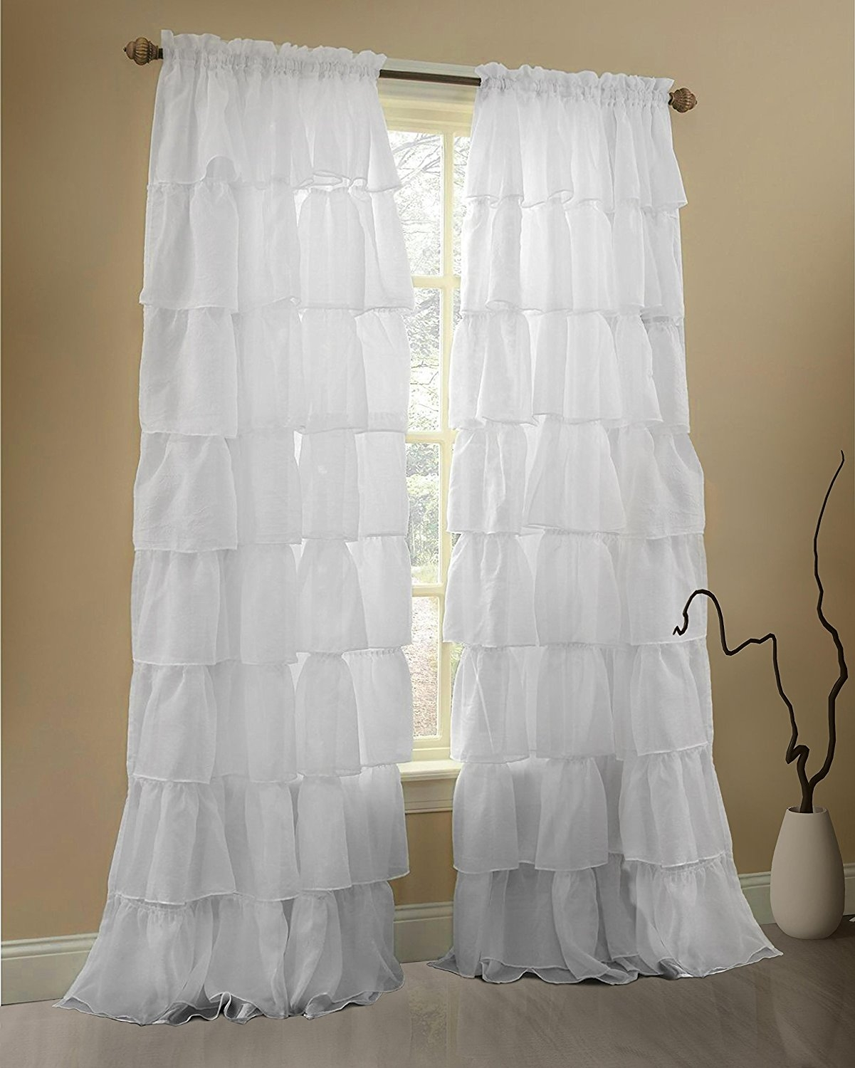 Amazon Gee Di Moda Ruffle Curtains Rod Pocket Window With For White Ruffle Curtains (View 17 of 25)
