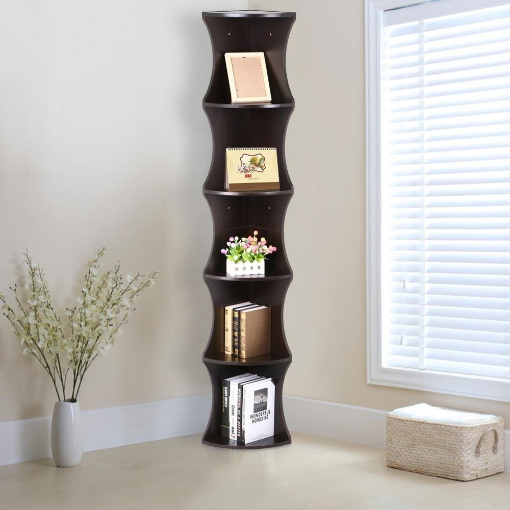 Amazon Go2buy 5 Tier Wood Round Wall Corner Shelf Slim Regarding Corner Shelf (Image 3 of 15)
