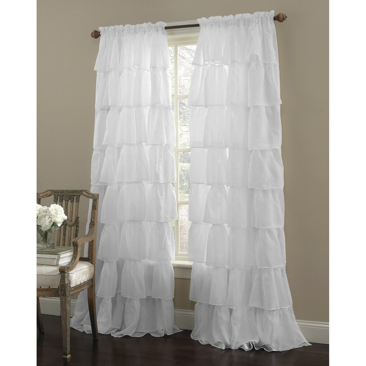 Amazon Gypsy 84 Panel White Home Kitchen In White Ruffle Curtains (View 4 of 25)