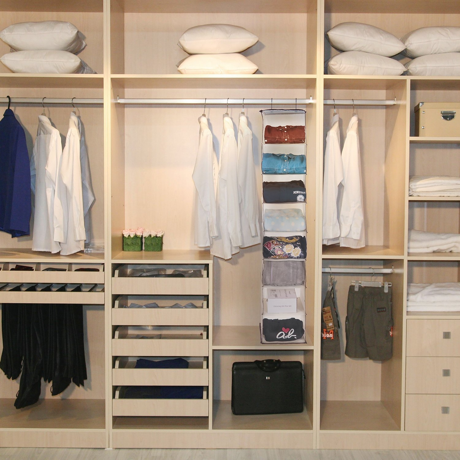 Amazon Hanging Closet Organizer Maidmax 8 Shelf Non Woven Within Hanging Wardrobe Shelves (Image 8 of 25)