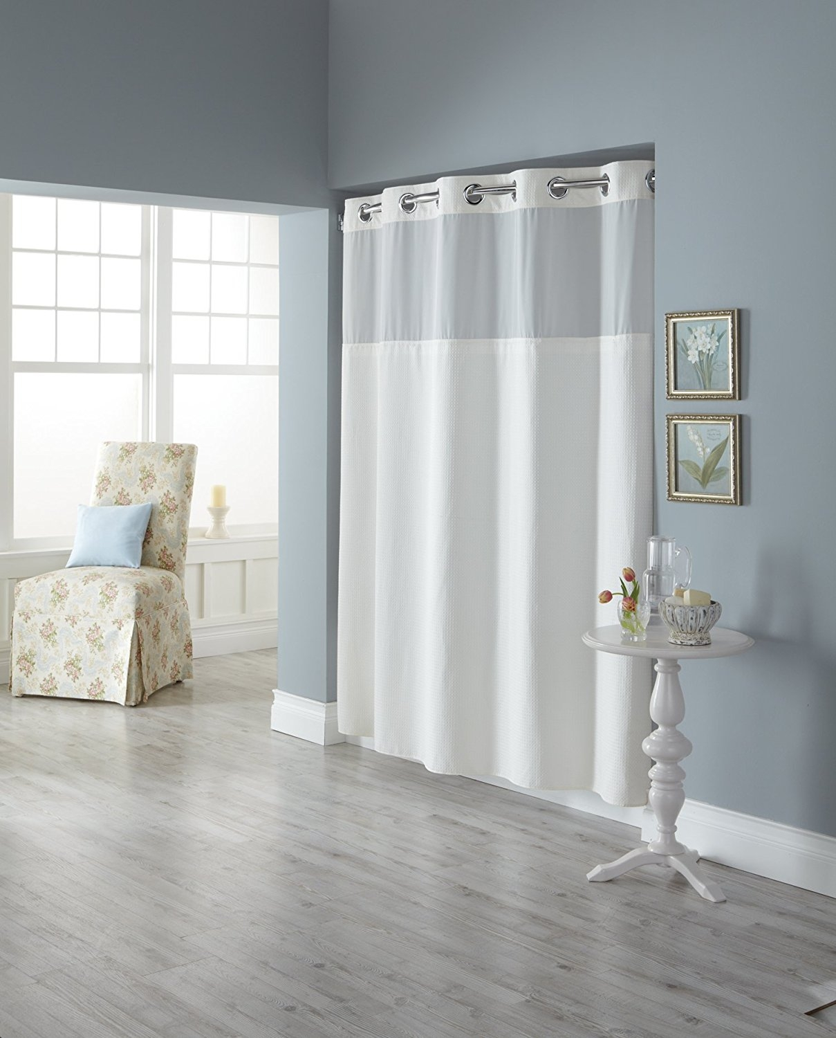 Amazon Hookless Rbh82my417 Fabric Shower Curtain With Built In Hookless Fabric Shower Curtain Liner (Image 3 of 25)