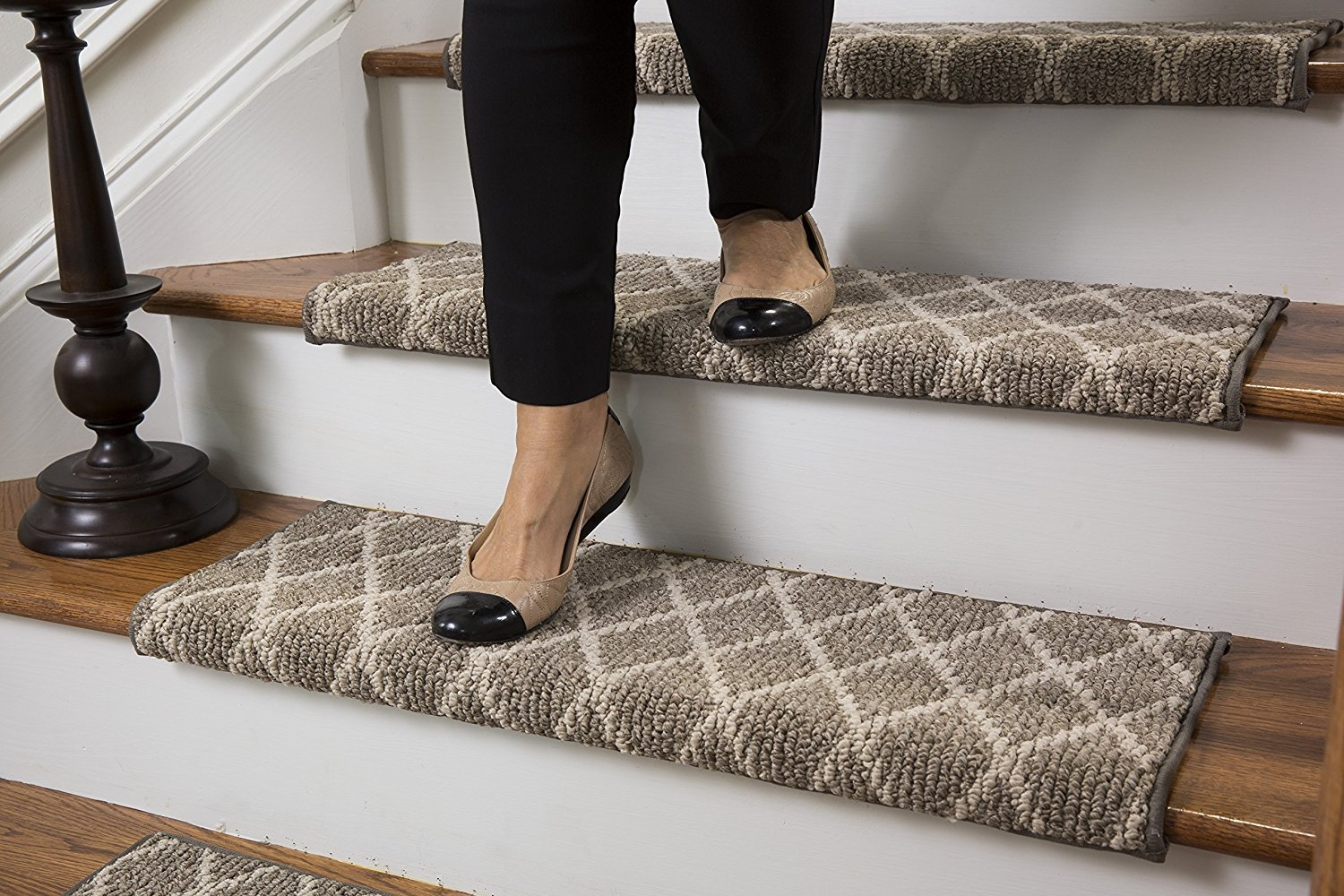 Amazon Jardin Wool Inspired Bullnose Carpet Stair Tread With Throughout Bullnose Stair Tread Carpets (Image 4 of 15)