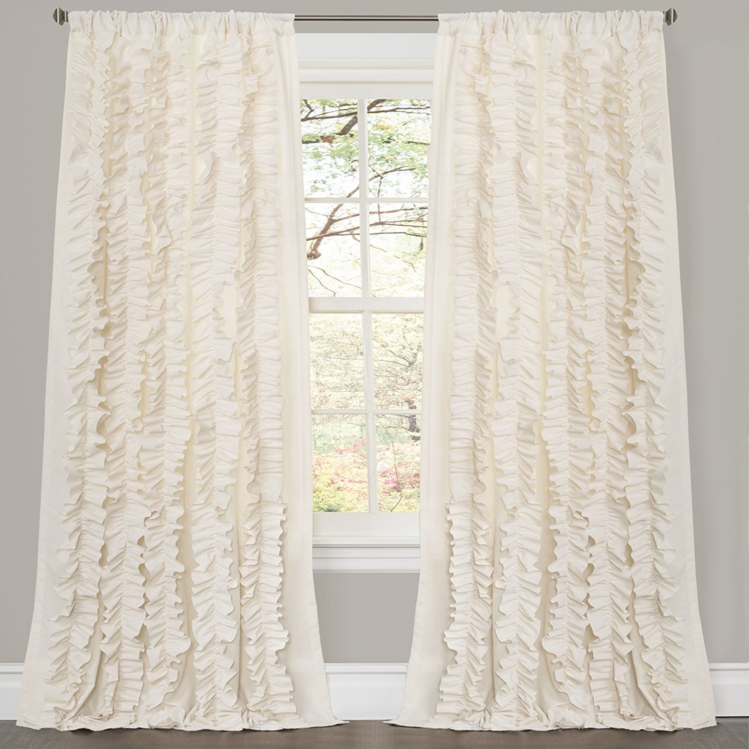 Amazon Lush Decor Belle Curtain 84 X 54 Inches Ivory Home Inside White Ruffle Curtains (View 24 of 25)