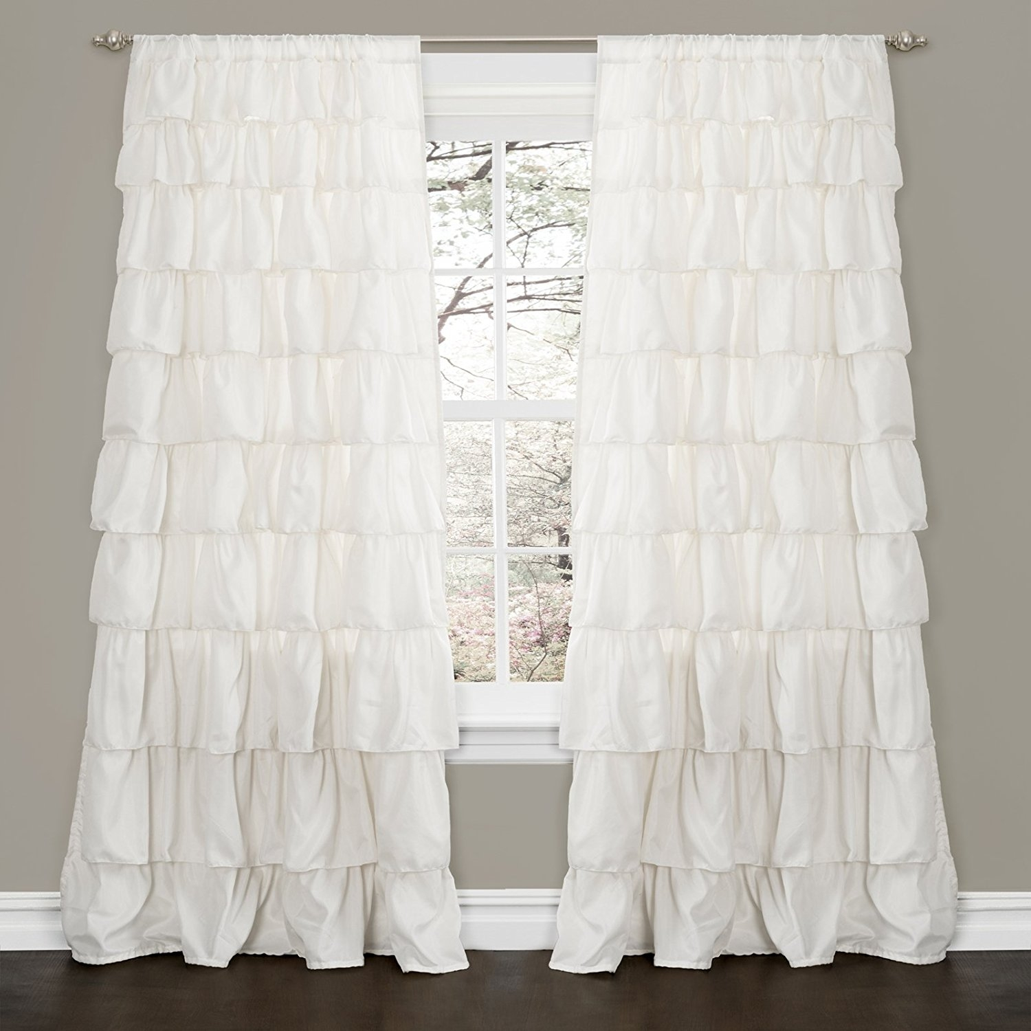 Amazon Lush Decor Ruffle Window Curtain Panel 84 50 Inch Regarding White Ruffle Curtains (View 12 of 25)