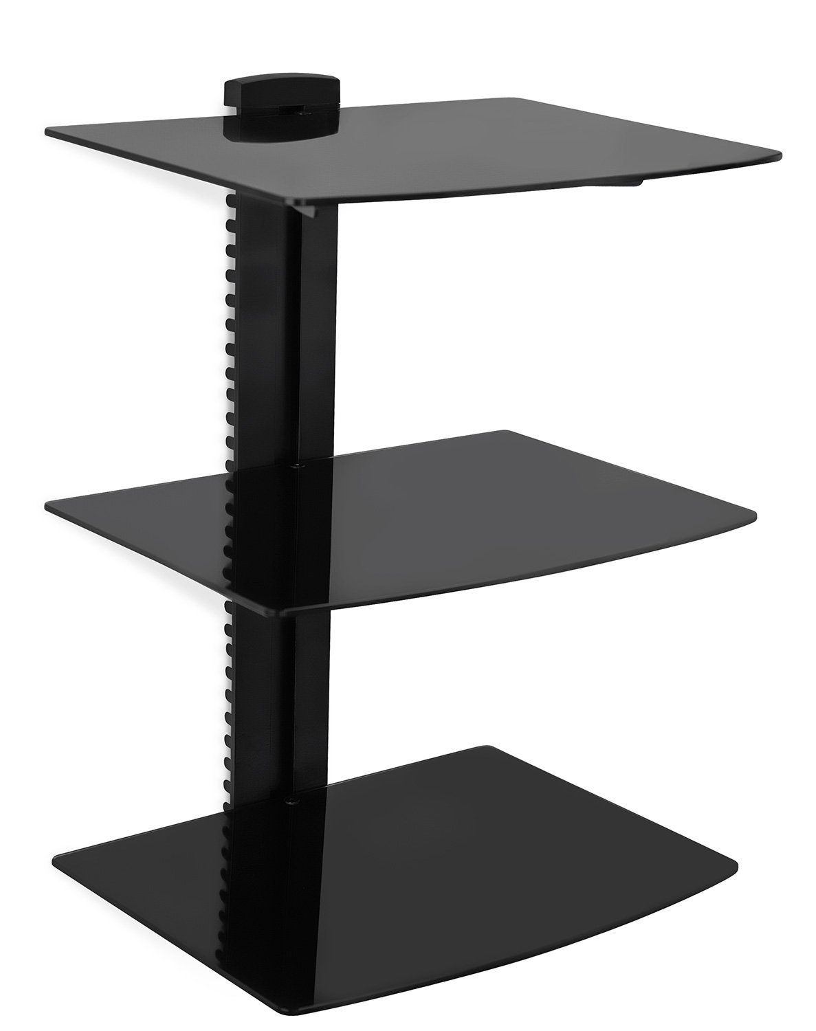 Amazon Mount It Wall Mounted Av Component Shelving System Pertaining To Black Glass Shelves Wall Mounted (Image 2 of 15)