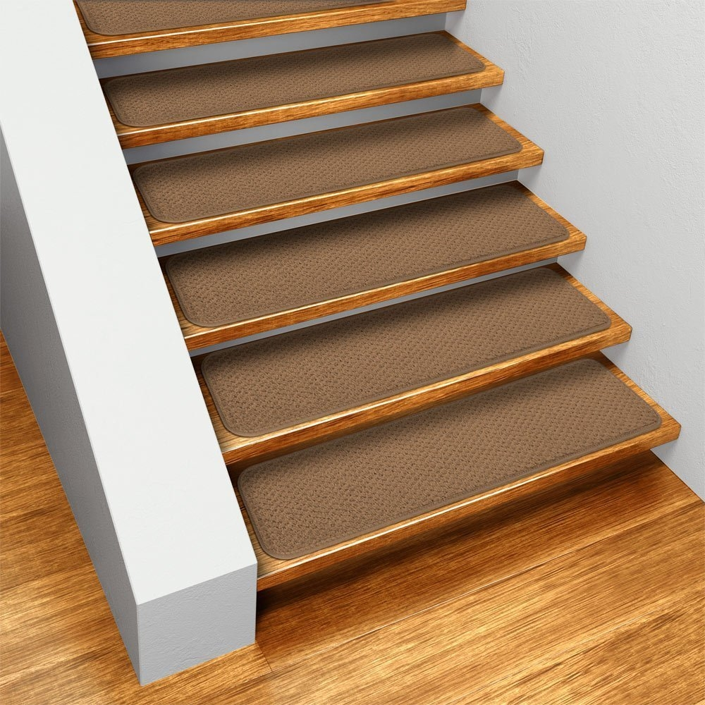 Amazon Set Of 15 Skid Resistant Carpet Stair Treads Toffee Regarding Stair Slip Guards (Image 3 of 15)