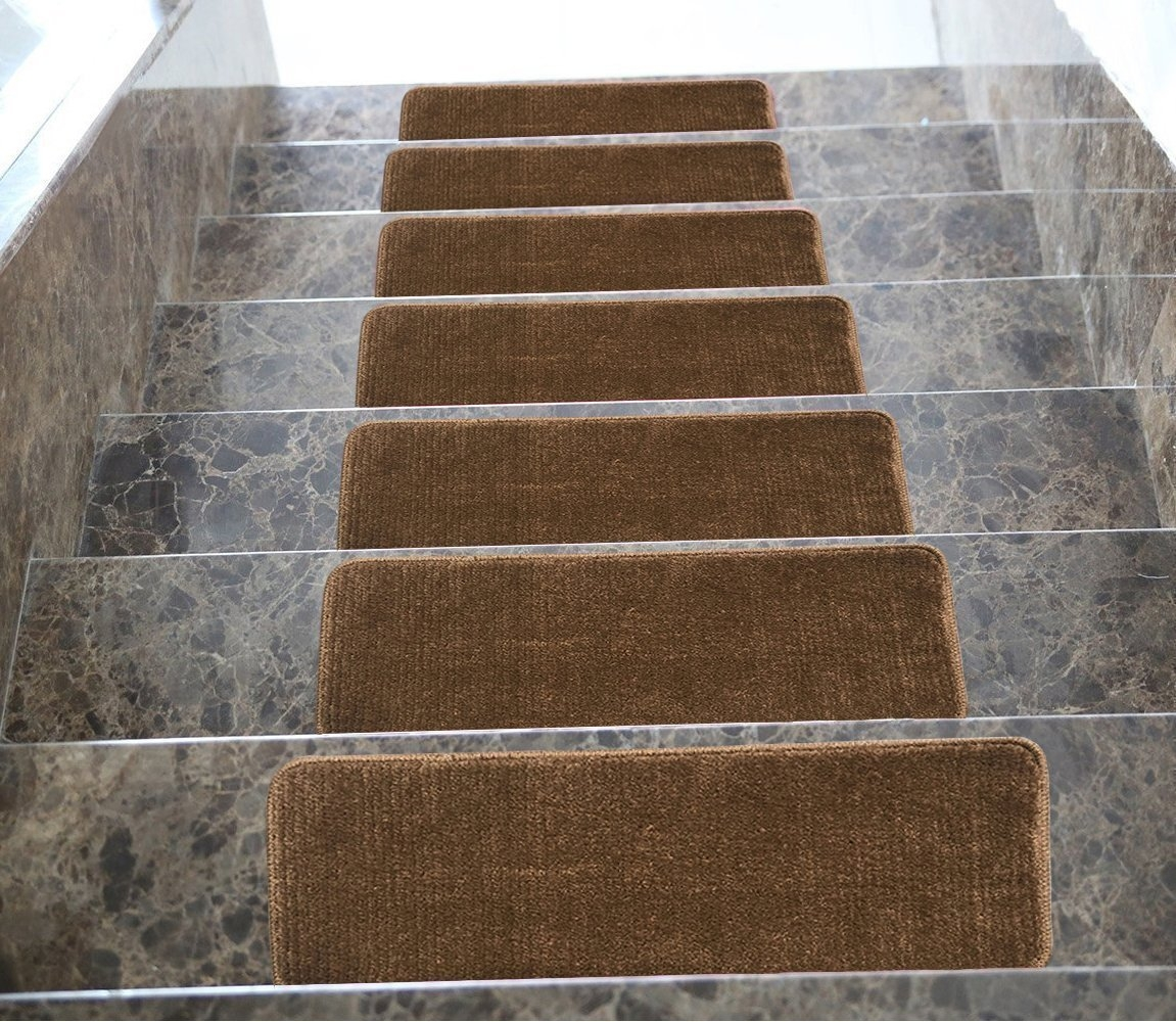 Amazon Softy Stair Tread Mats Skid Resistant Rubber Backing Regarding NonSkid Solid StairTread Rugs (Image 1 of 15)