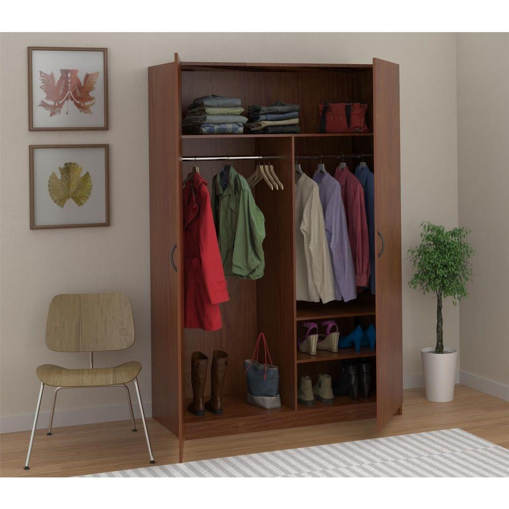 Ameriwood Wardrobe Storage Closet With Hanging Rod And 2 Shelves Inside Hanging Wardrobe Shelves (Image 10 of 25)