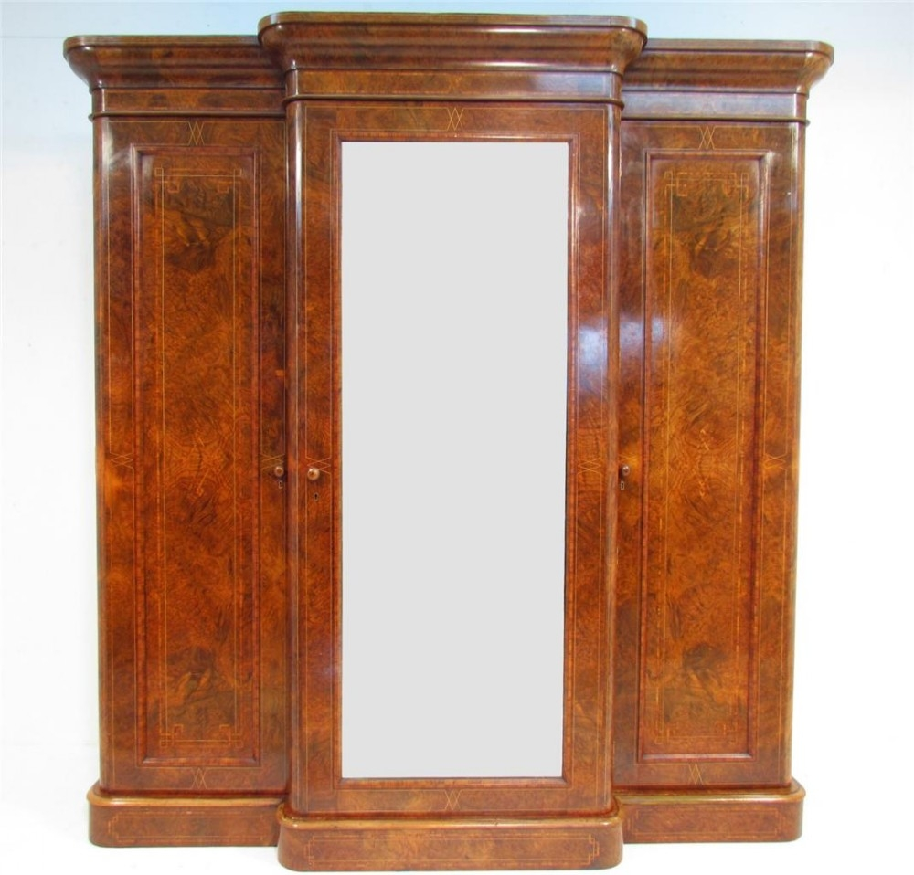 An Exceptional 19th C Antique Burr Walnut Breakfront Wardrobe Pertaining To Breakfront Wardrobe (Image 1 of 15)