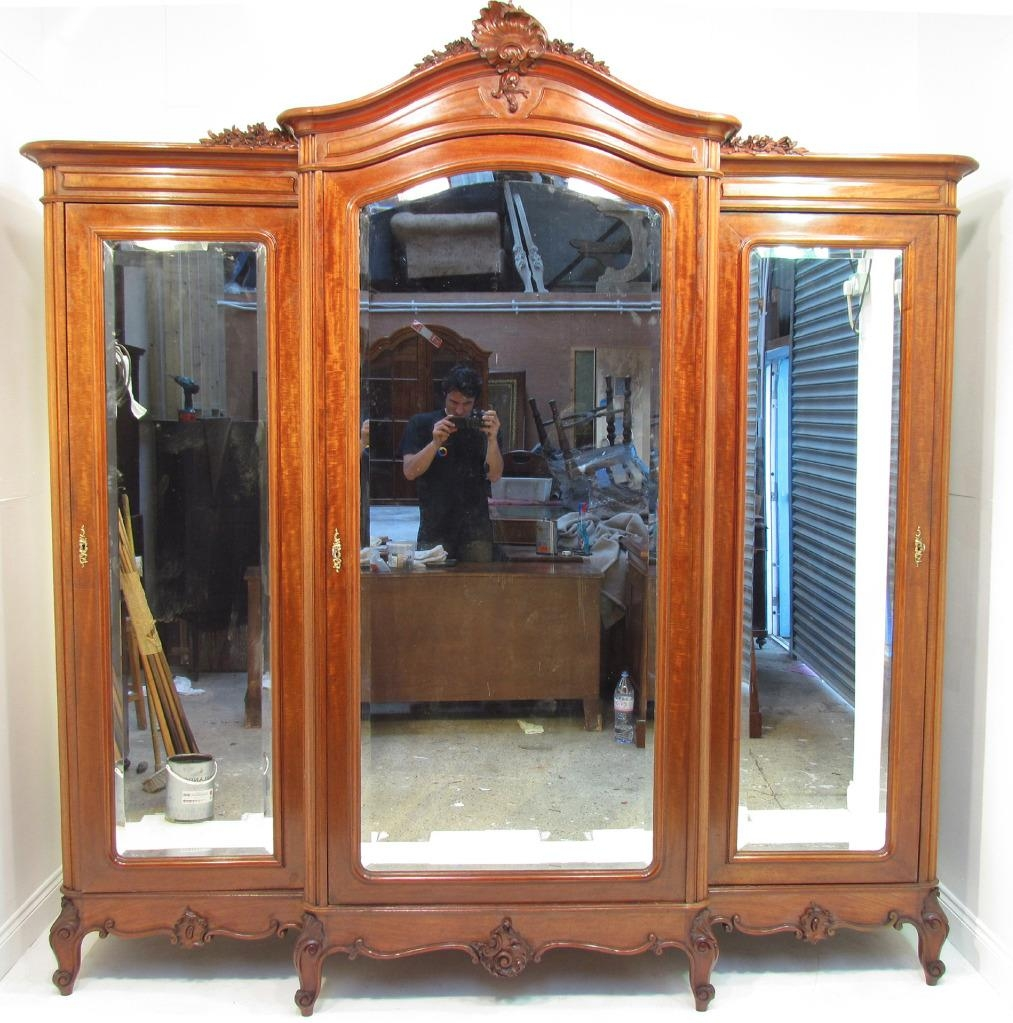 An Exceptional Large French Antique Mahogany Breakfront Wardrobe Throughout Breakfront Wardrobe (Image 2 of 15)