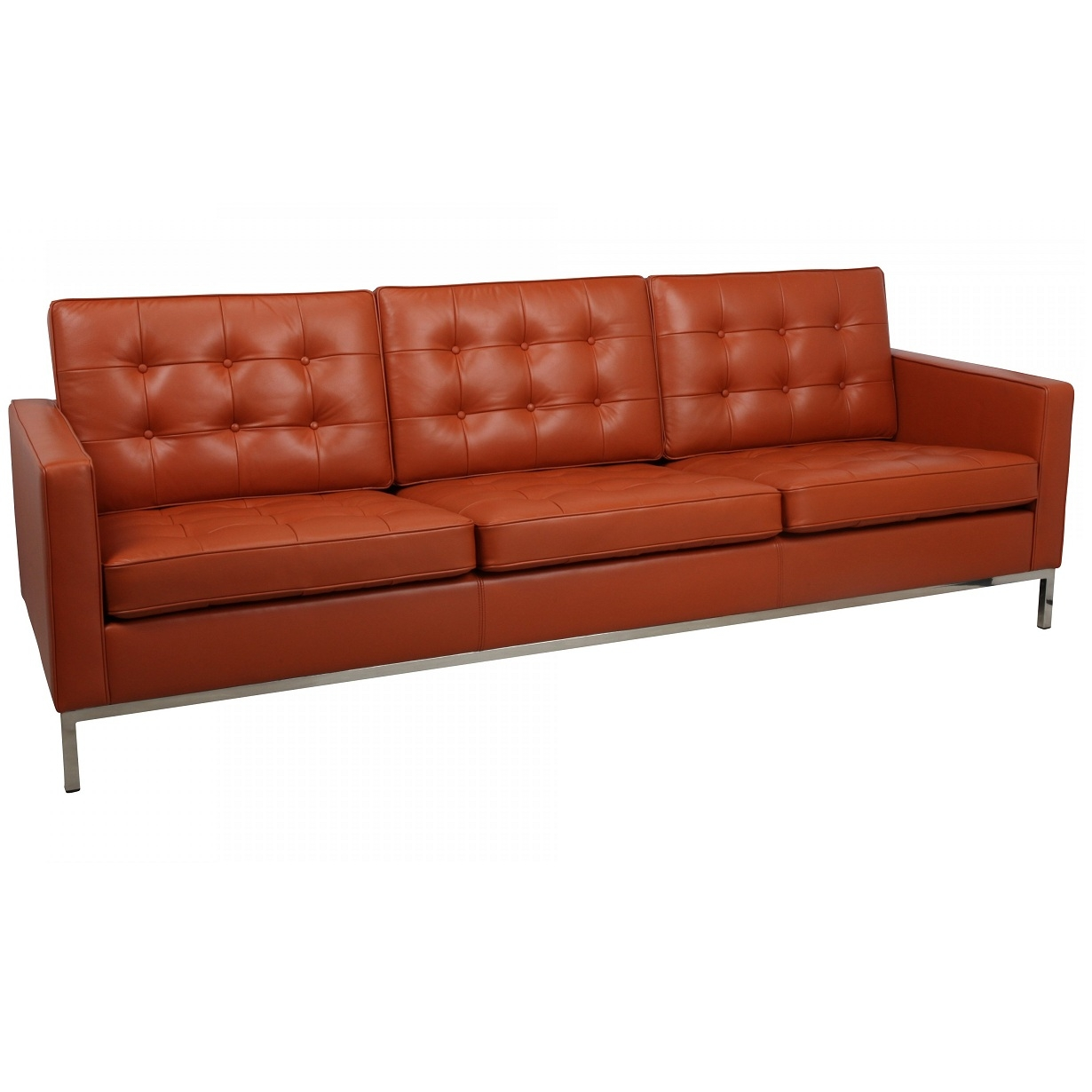 Aniline Leather Florence Knoll 3 Seat Sofa Next Day Delivery In Florence Knoll Leather Sofas (Image 1 of 15)