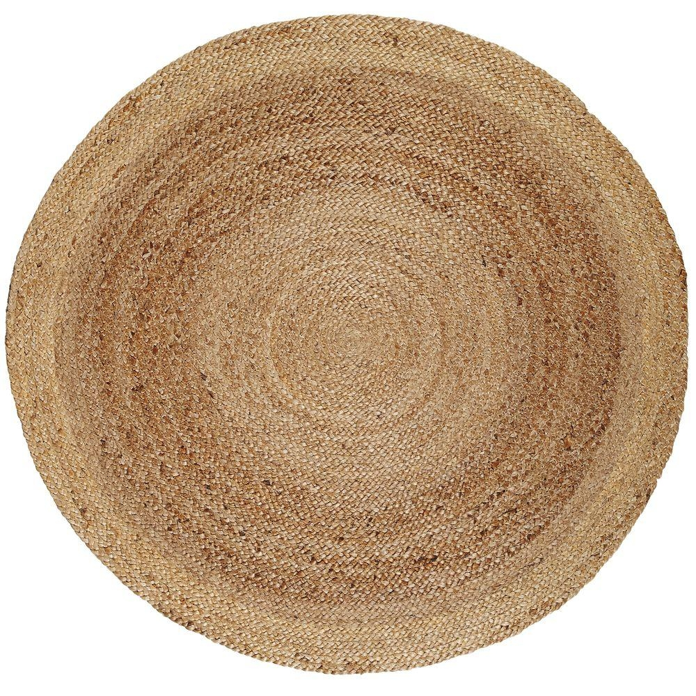 Anji Mountain Kerala Tan Braided 8 Ft Jute Round Area Rug Amb0328 Within Circular Wool Rugs (Image 1 of 15)