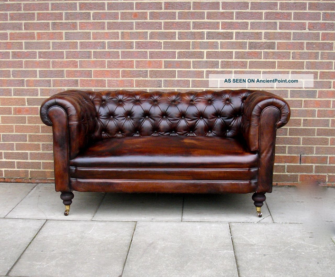 Antique 19thc Leather Chesterfield Sofa Drop Arm Hand Full Pertaining To Antique Sofa Chairs (Image 1 of 15)