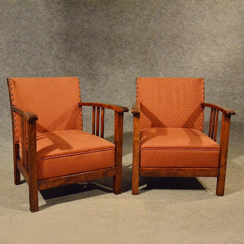Antique Art Deco Pair Of Armchairs Low Compact Club Chairs Quality Regarding Compact Armchairs (Image 3 of 15)