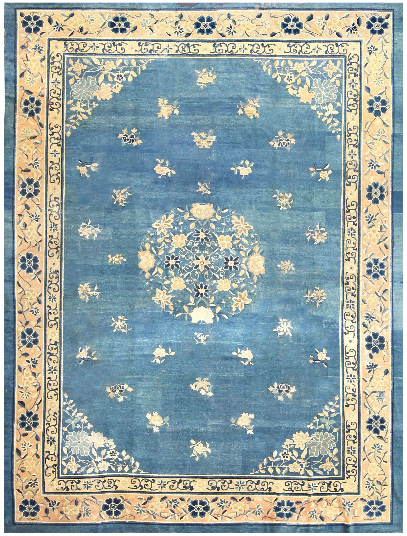 Antique Blue Chinese Rug 50148 Nazmiyal Collection Inside Chinese Rugs (View 3 of 15)