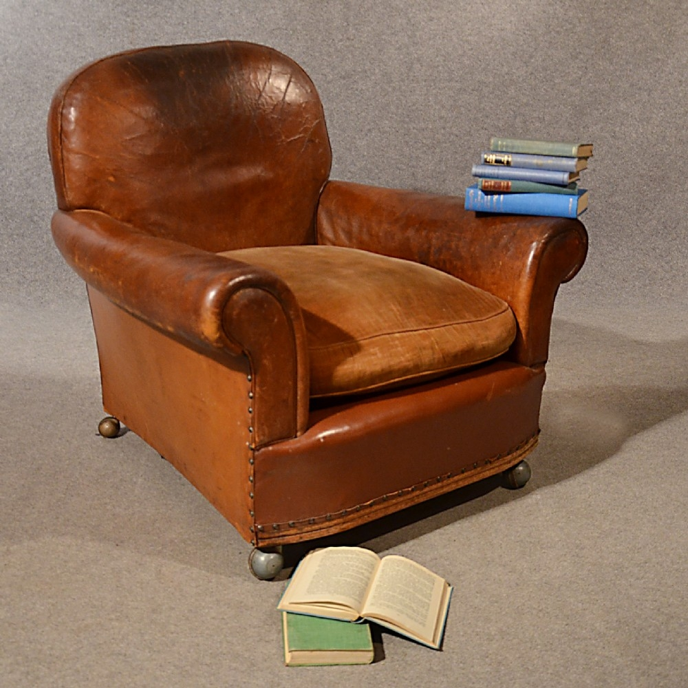 Antique Leather Armchair Vintage Club Easy Chair Victorian English With Regard To Vintage Leather Armchairs (Image 1 of 15)