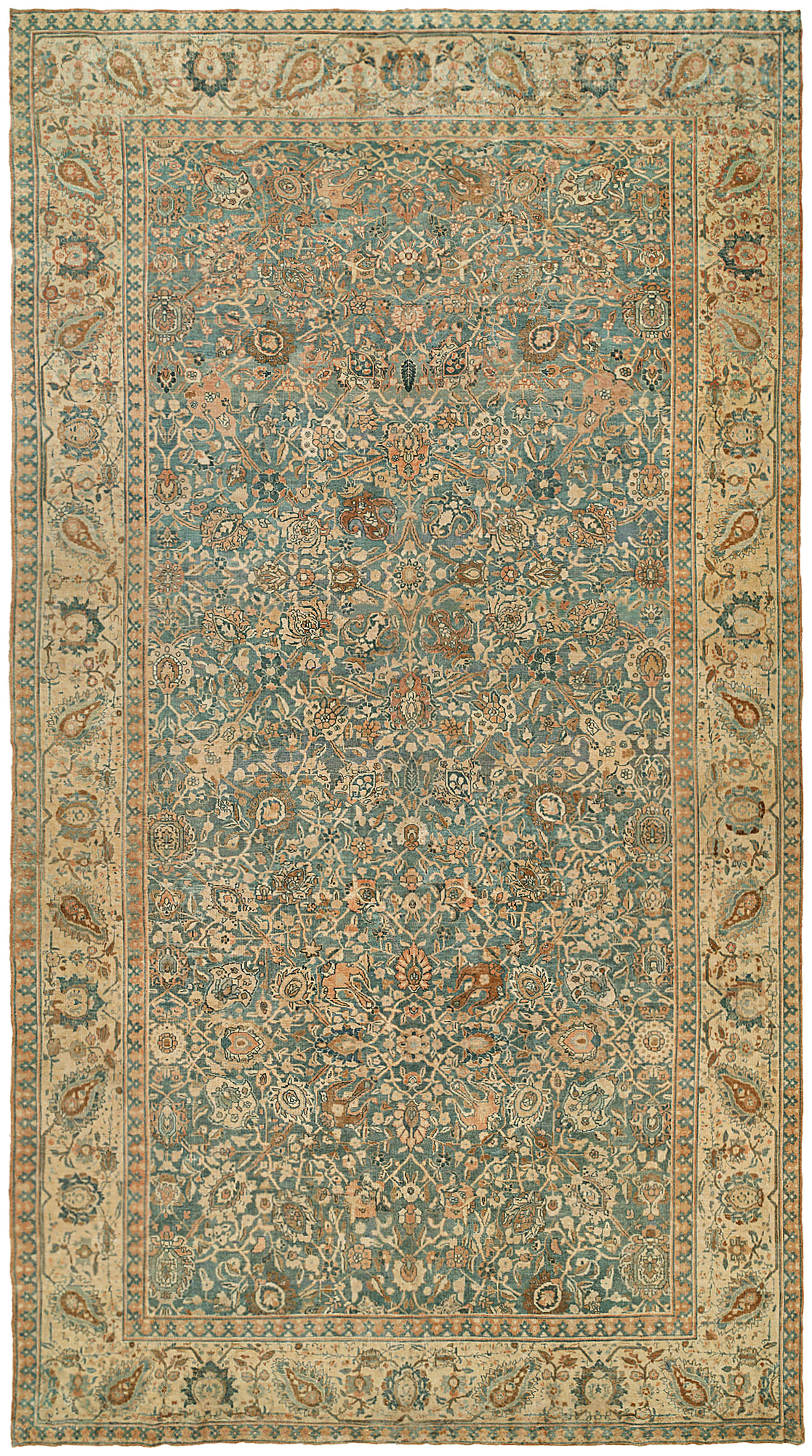 Antique Persian Tabriz Rug Bb2187 Doris Leslie Blau Pertaining To Green Persian Rugs (Image 1 of 15)