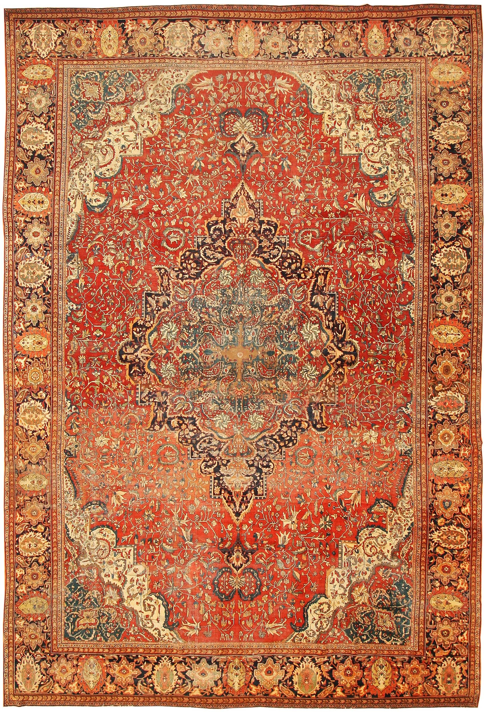 Antique Sarouk Farahan Persian Rug 43328 Nazmiyal Collection For Persian Rugs (Image 5 of 15)